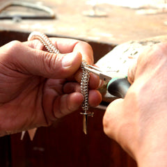 Silversmith in Zacateca making Grace Sterling Silver Bracelet | Amano Designs UK