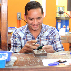 Silversmith in Zacatecas making Grace Sterling Silver Bracelet | Amano Designs UK