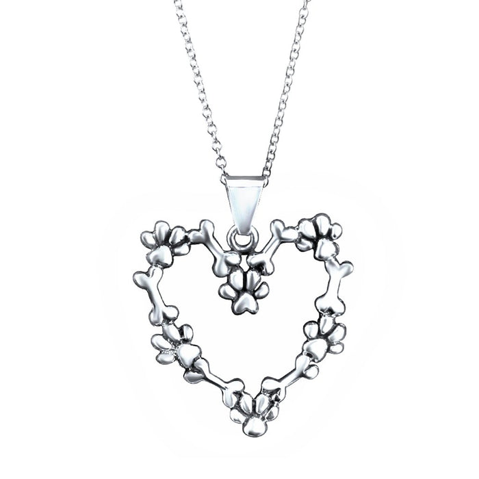 Amiga Sterling Silver Heart Pendant Necklace Necklace
