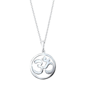 Asana Sterling Silver Om Pendant Necklace Necklace