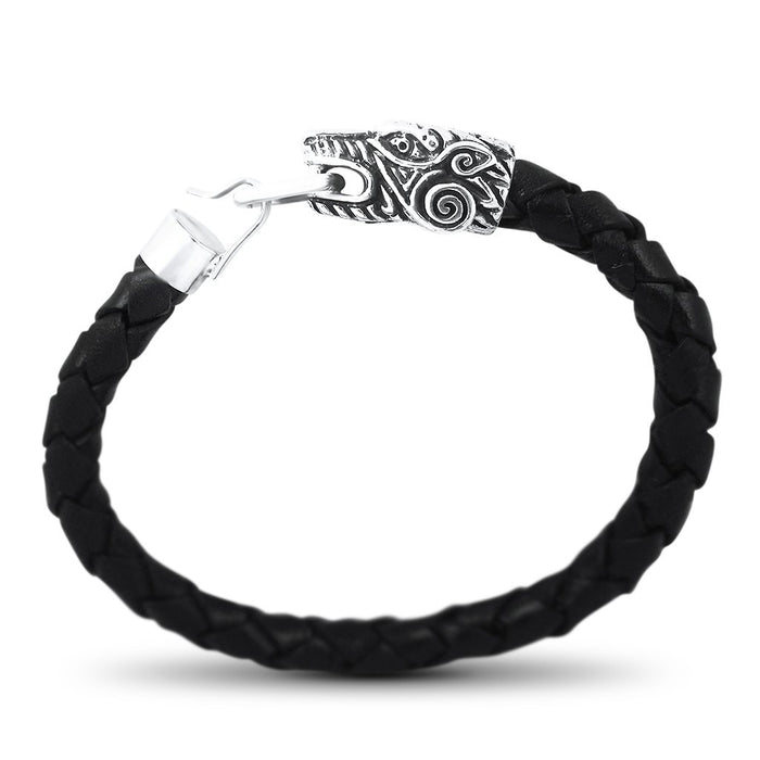 Azteca Mens Sterling Silver Leopard Head Leather Bracelet Mens Bracelet