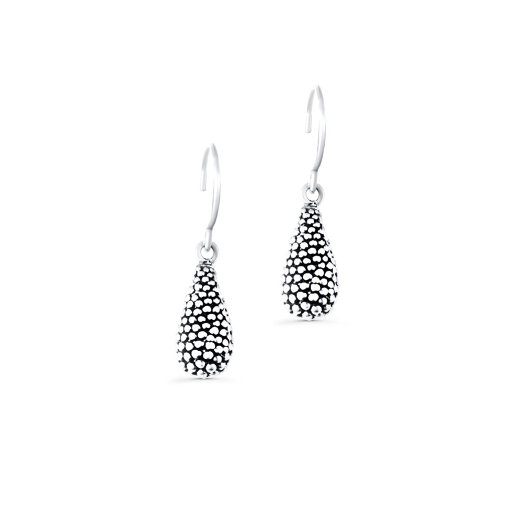 Carmen Sterling Silver Oxidised Single Droplet Earrings