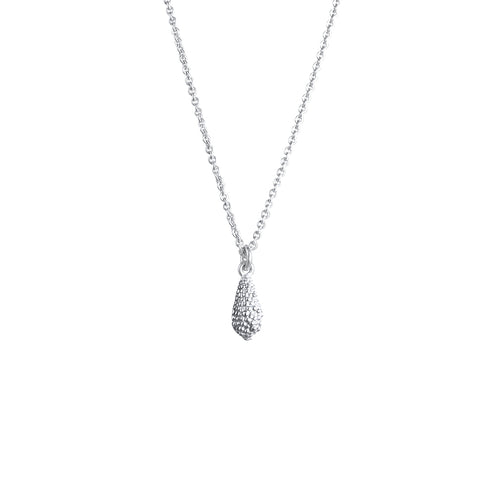 Belen Sterling Silver Textured Droplet Necklace