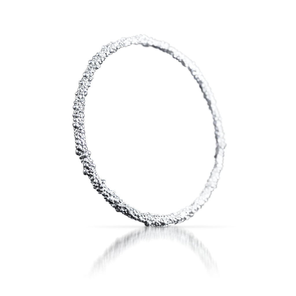 Belen Sterling Silver Textured Bangle Bracelet