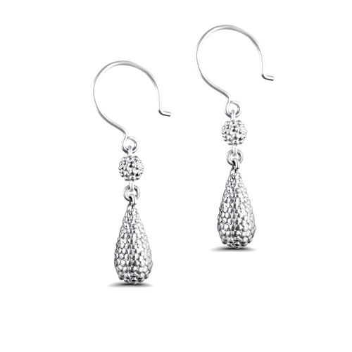 Belen Sterling Silver Two-Tiered Textured Droplet Earrings