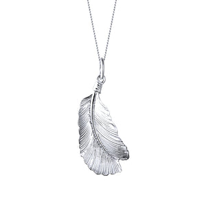 Birdie Sterling Silver Feather Pendant Necklace