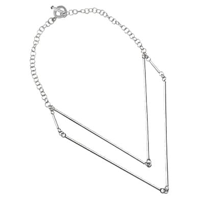 Carlotta Sterling Silver Tiered V-Shaped Necklace Necklace