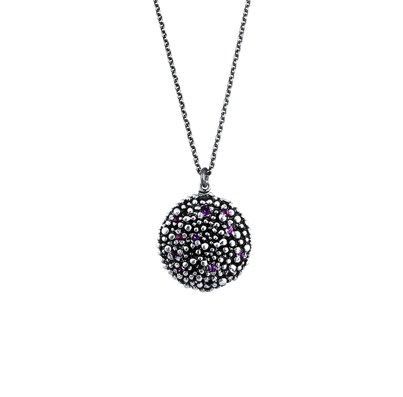 Carmen Oxidised Sterling Silver Amethyst Disc Necklace