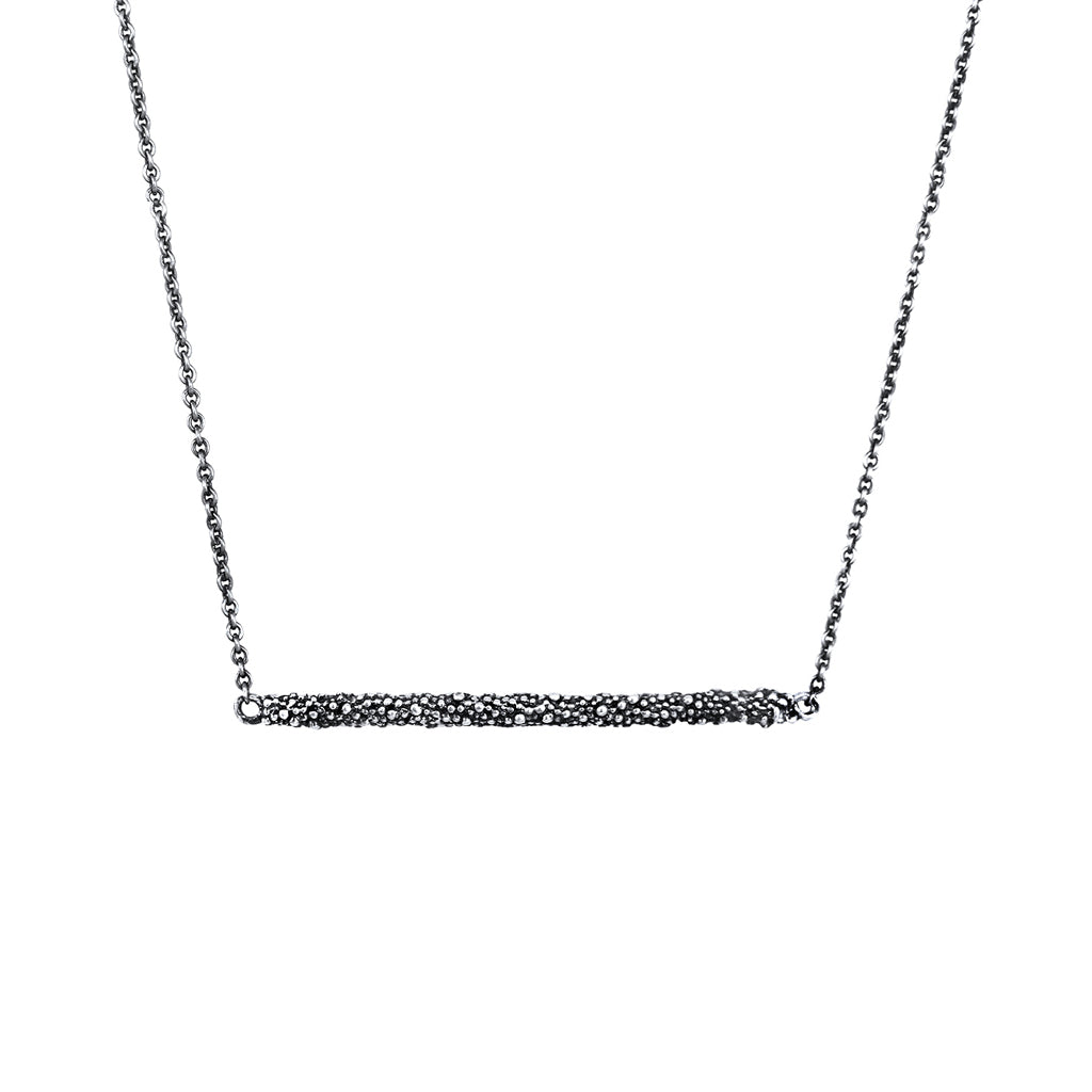 Carmen Sterling Silver Oxidised Bar Necklace