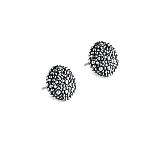 Carmen Sterling Silver Oxidised Button Stud Earrings