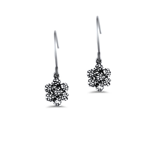 Carmen Sterling Silver Oxidised Daisy Droplet Earrings