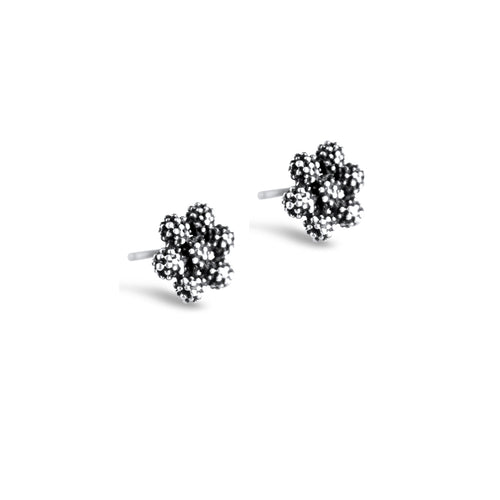 Carmen Sterling Silver Oxidised Daisy Stud Earrings