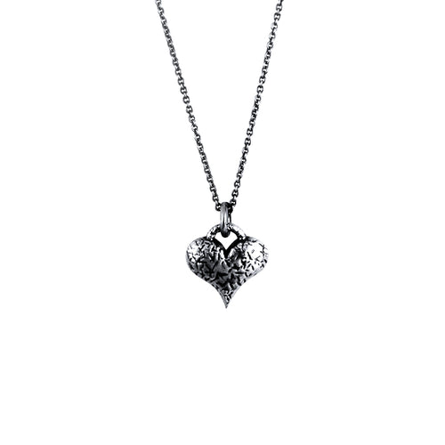 Carmen Sterling Silver Oxidised Love Heart Necklace