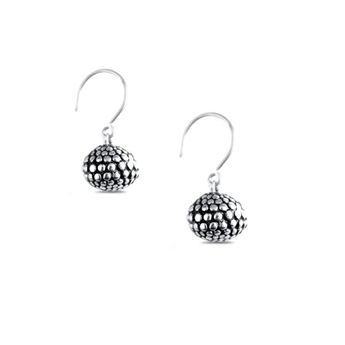 Carmen Sterling Silver Oxidised Single Sphere Earrings