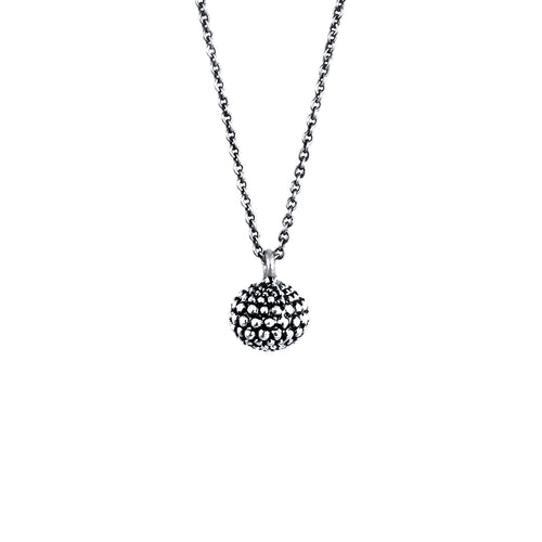 Carmen Sterling Silver Oxidised Single Sphere Necklace