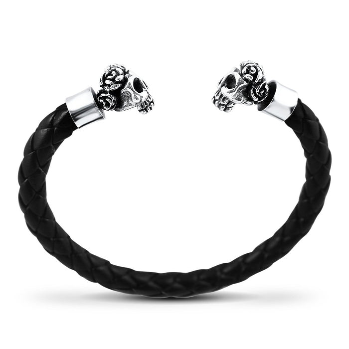 Catrina Mens Sterling Silver Sugar Skull Leather Bracelet Mens Bracelet