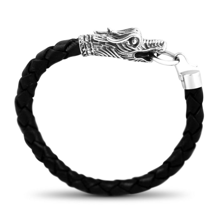 Chino Mens Sterling Silver Dragon Head Leather Bracelet Mens Bracelet