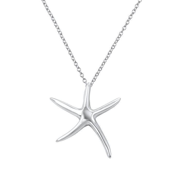 Coral Sterling Silver Starfish Kids Pendant Necklace Kids Pendant