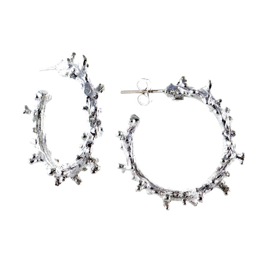 Bahia sterling silver coral hoop earrings