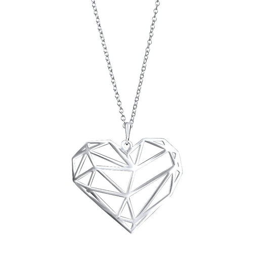 Eternity Cut-Out Sterling Silver Heart Pendant Necklace Pendant