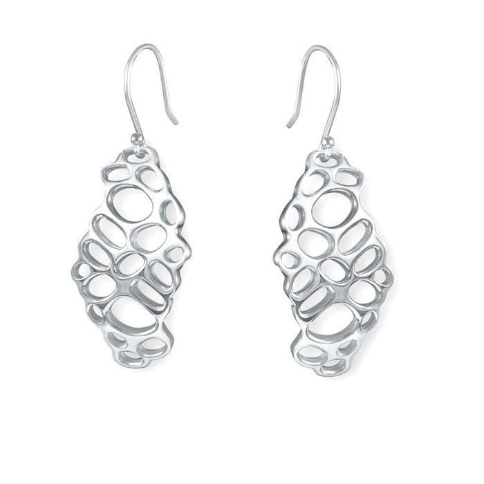 Honeycomb Sterling Silver Cut-Out Earrings