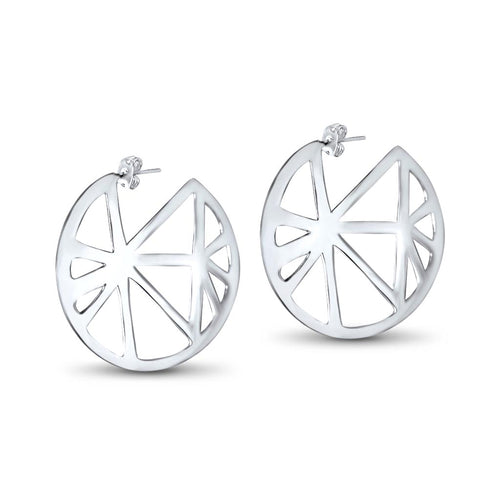 Isa Sterling Silver Geometric Hoop Earrings