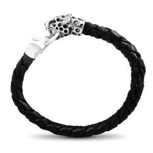 Felix Mens Sterling Silver Jaguar Head Leather Bracelet Mens Bracelet