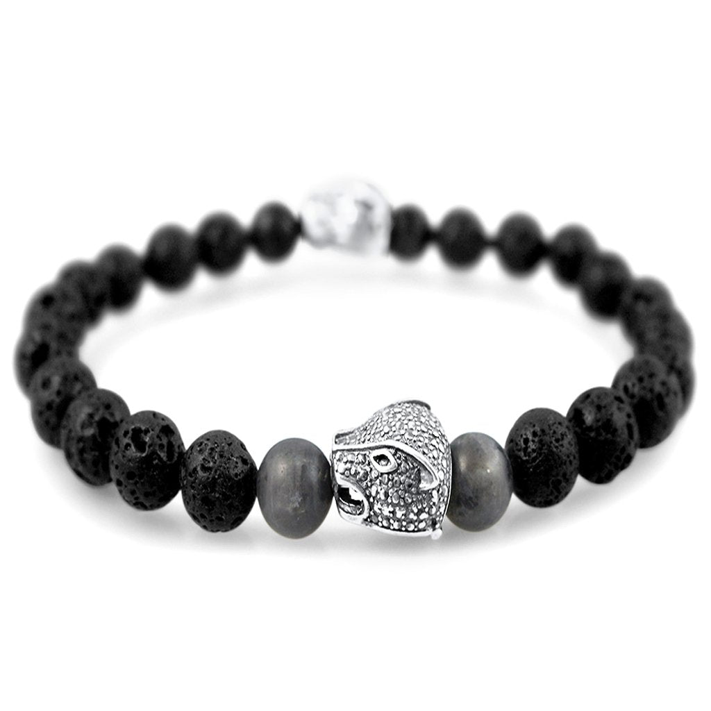 Jaguar Mens Sterling Silver Stone Beaded Bracelet Mens Bracelet