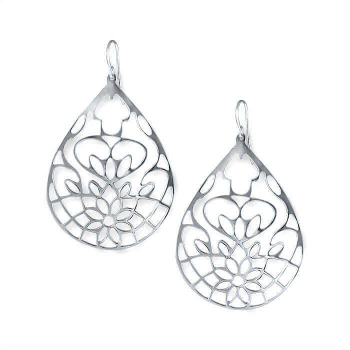 Lotus Sterling Silver Cut-Out Flower Earrings