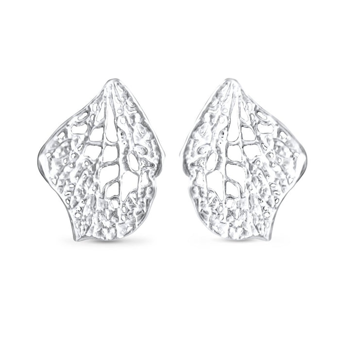 Lucia Sterling Silver Petal Skeleton Stud Earrings