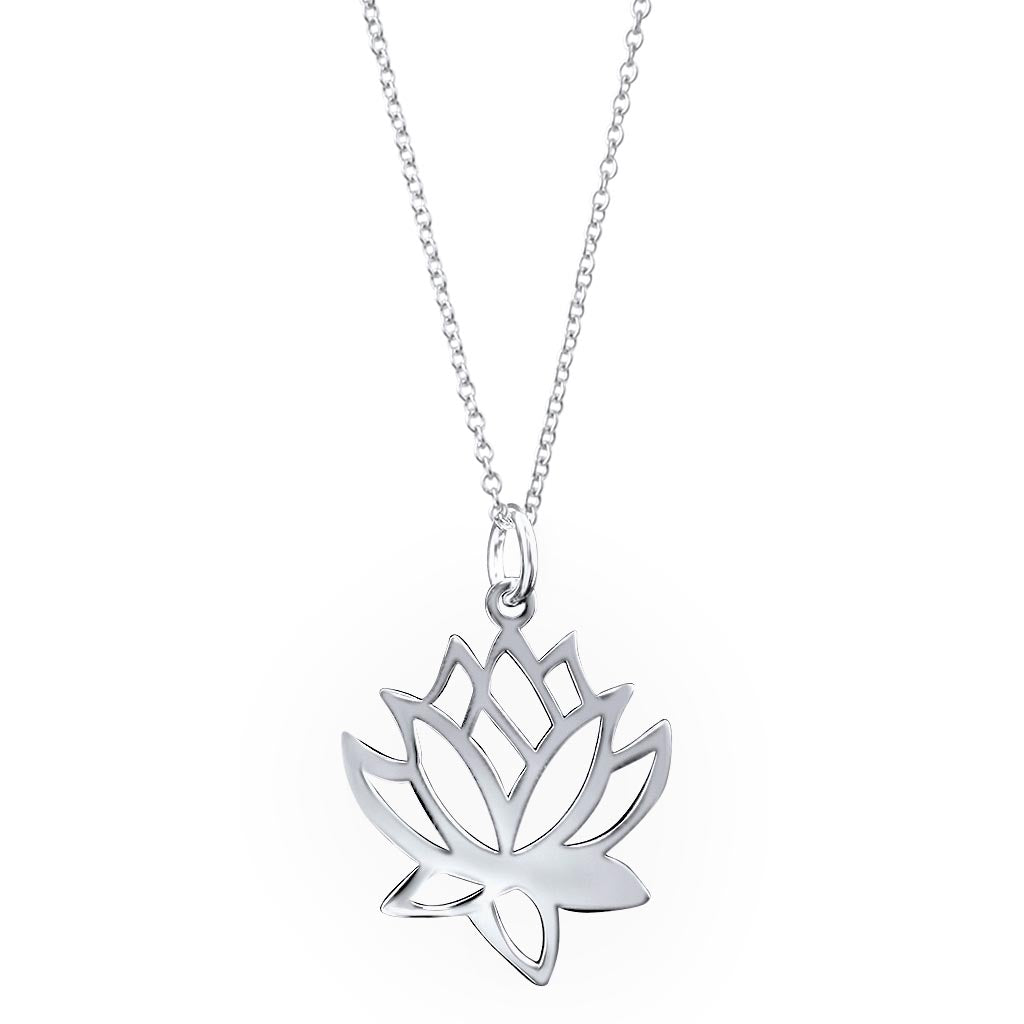 Mantra Sterling Silver Lotus Flower Pendant Necklace