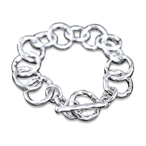 Mila Sterling Silver Hammered Linked T-Bar Bracelet Bracelet