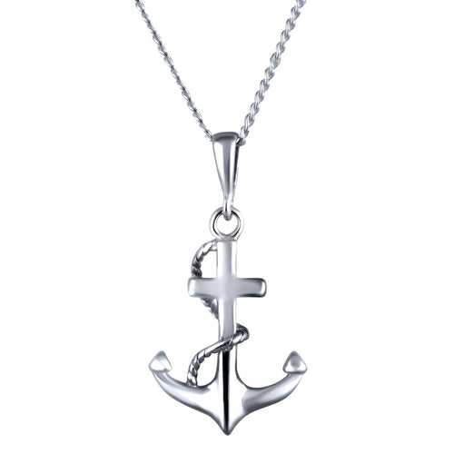 Nautica Sterling Silver Anchor Pendant Necklace