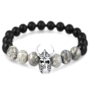 Odin Mens Sterling Silver Viking Head Beaded Bracelet Mens Bracelet