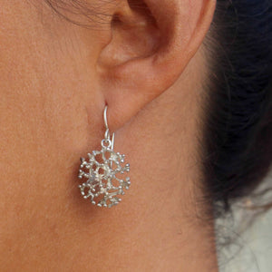 Reef Sterling Silver Coral Drop Earrings