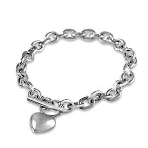 Eternity Sterling Silver T-Bar Heart Bracelet Bracelet