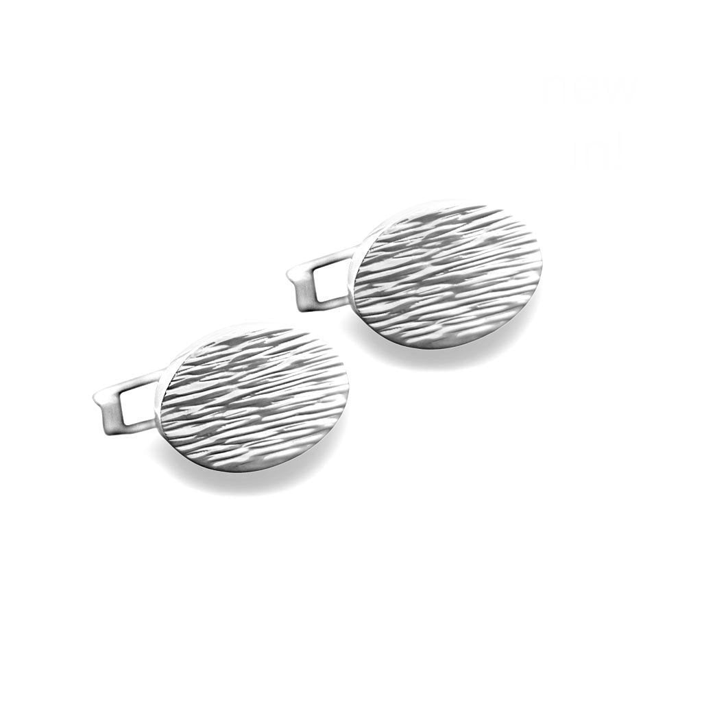Luka Brushed Sterling Silver Oval Cufflinks Cufflinks