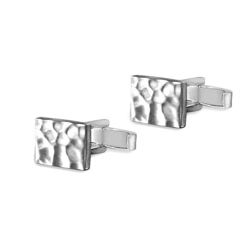 Maxim Hammered Sterling Silver Rectangle Cufflinks Cufflinks