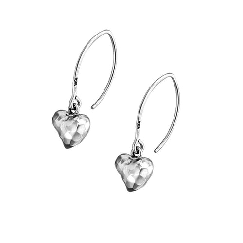 Eternity Sterling Silver Hammered Heart Drop Earrings Earring