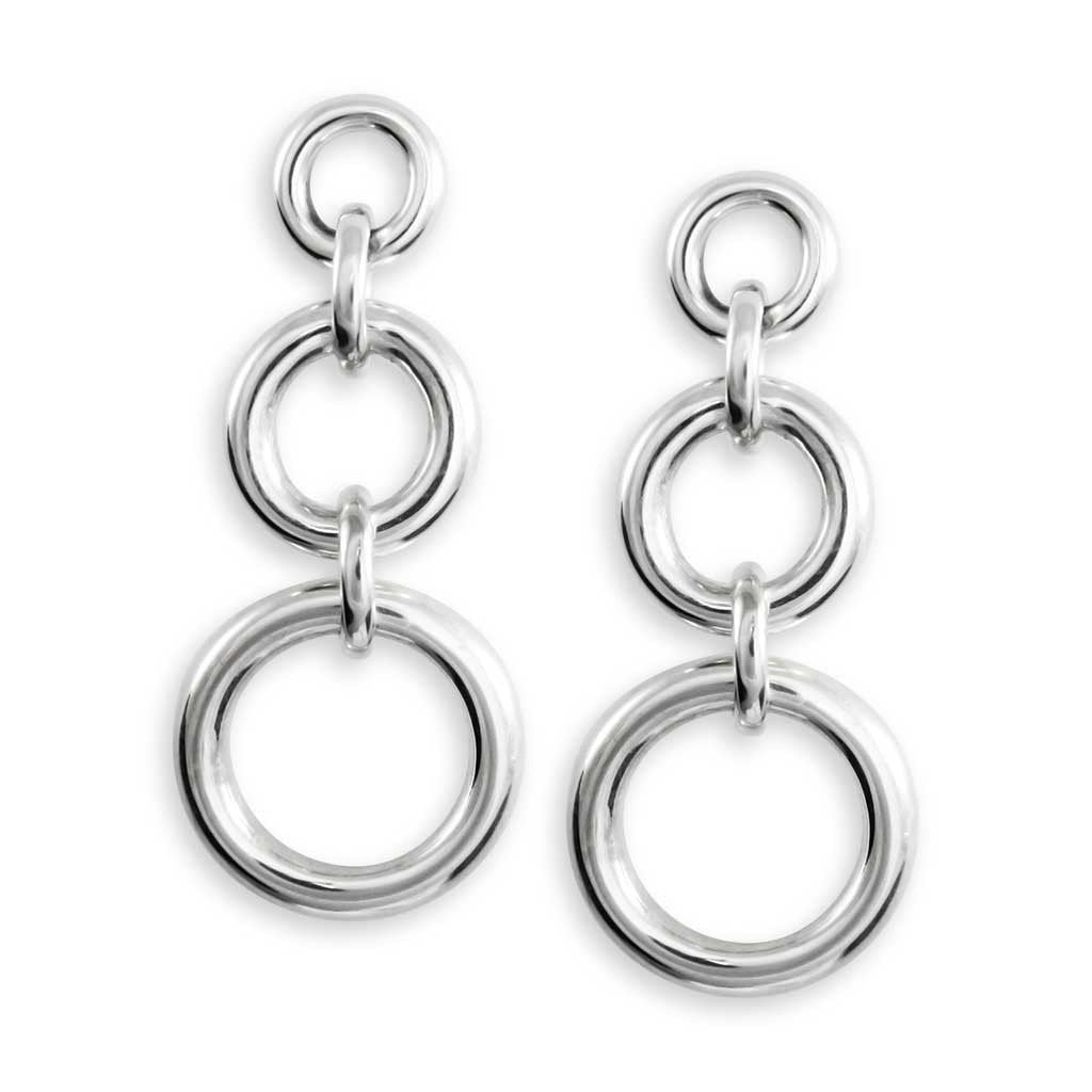 Aries Sterling Silver Linked Circle Earrings Earring