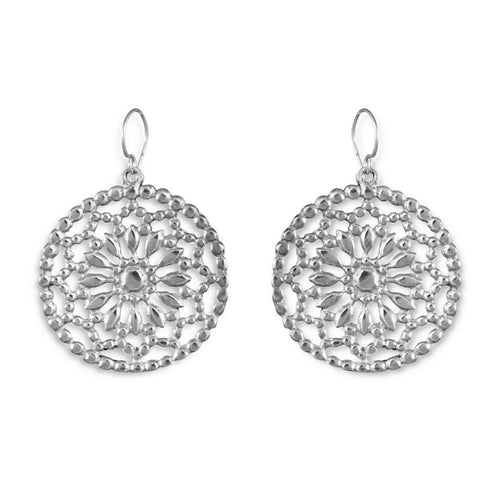 Primavera Sterling Silver Cut-Out Flower Earrings Earring