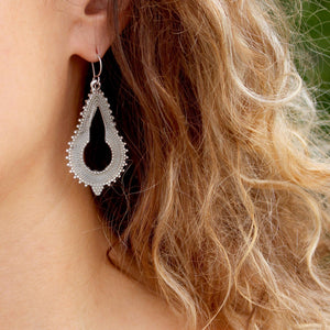 Nahui Sterling Silver Long Oxidised Earrings