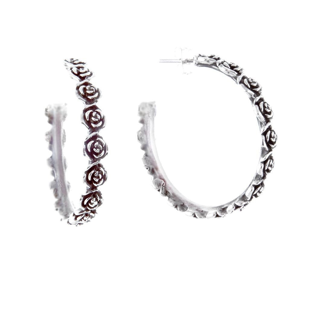 Rosita Oxidised Sterling Silver Hoop Earrings