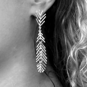 Spirit Silver Long Feather Drop Earrings