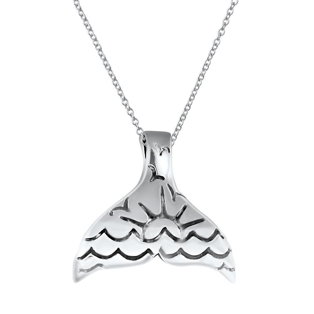 925 Sterling Silver Whale Tail Slide Shaped Pendant