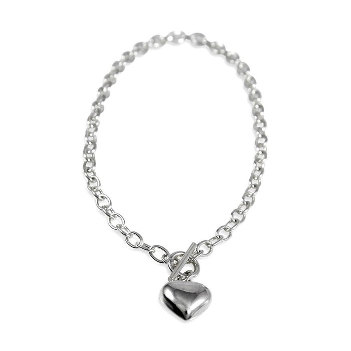 Eternity Sterling Silver Heart T-Bar Necklace Necklace