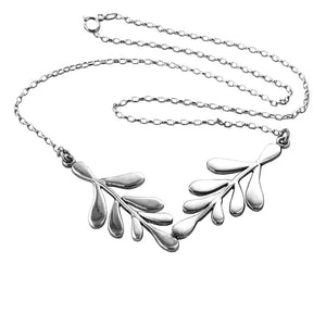 Laurel Sterling Silver Double Leaf Necklace Necklace
