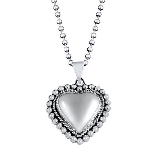 Eternity Sterling Silver Beaded Heart Pendant Necklace Pendant