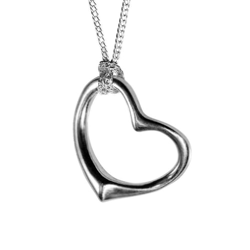 Eternity Sterling Silver Open Heart Pendant Necklace Pendant