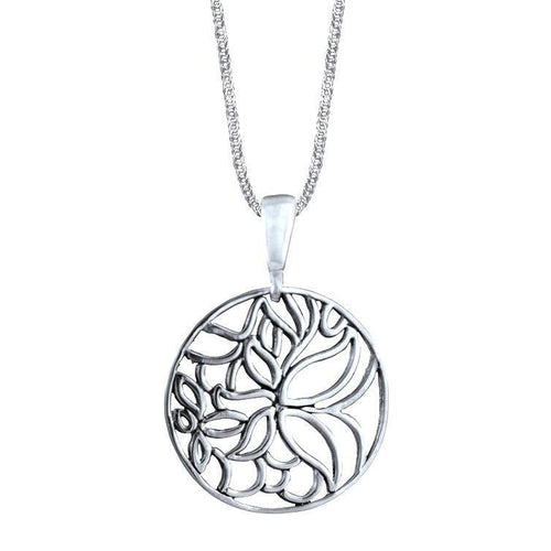 Flora Sterling Silver Cut-Out Flower Pendant Necklace Pendant